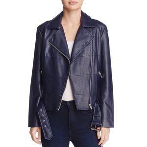 BB Dakota navy leather moto jacket sz Sml